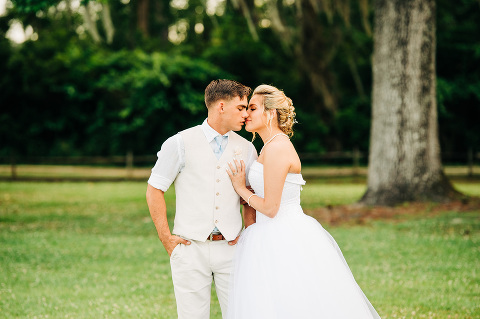 Wedding couple almost kissing at Marston Pavilion in Camp Lejuene, North Carolina.